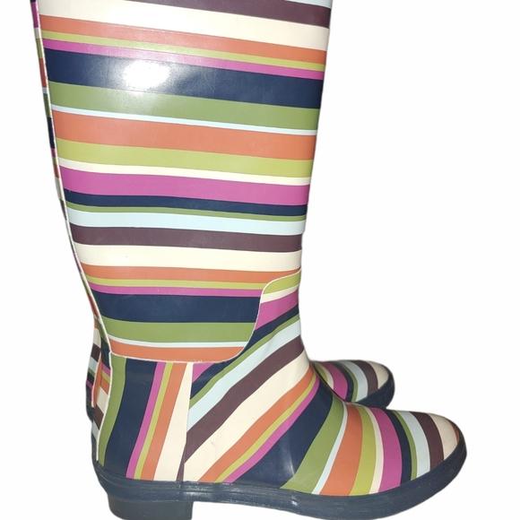 Coach Pammie strip rain boots size 7